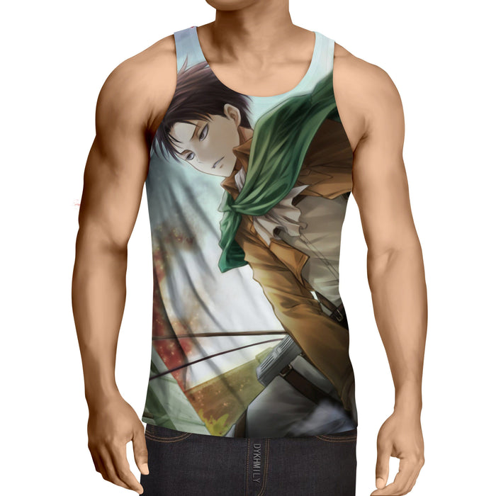 Attack On Titan Hansome Eren Yeager Vibrant Design Tank Top - Konoha Stuff