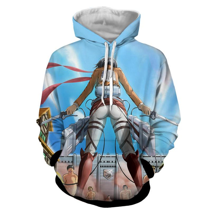 Attack On Titan Mikasa Holding Two Swords Dope Style Hoodie - Konoha Stuff