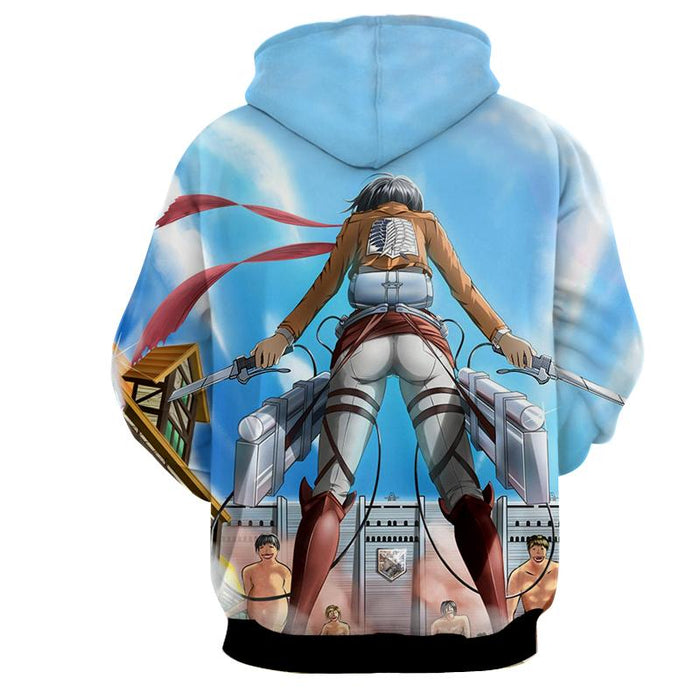 Attack On Titan Mikasa Holding Two Swords Dope Style Hoodie