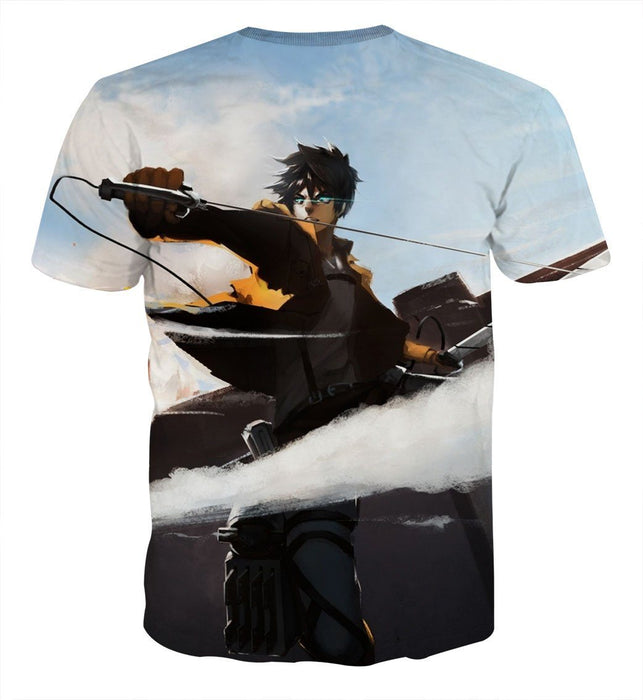 Attack On Titan Soldier Eren Wielding Swords Cool T-shirt - Konoha Stuff
