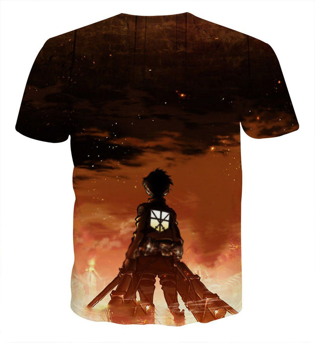 Attack On Titan Eren In Of The Fire Vibrant 3D Print T-shirt - Konoha Stuff