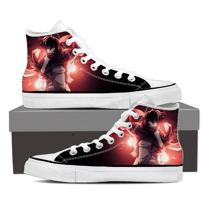 Attack On Titan Mikasa Ackerman Best Soldier Vibrant Shoes - Konoha Stuff