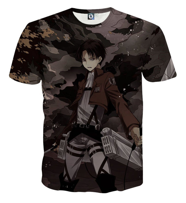 Attack On Titan Levi Under The Night Sky Cool Print T-shirt - Konoha Stuff