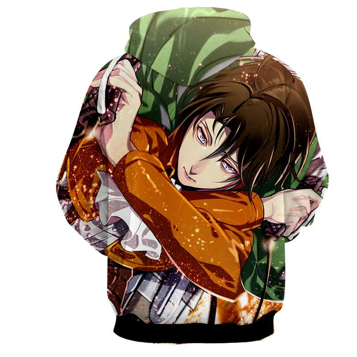 Attack On Titan Captain Levi Blades Portrait Vibrant Hoodie - Konoha Stuff