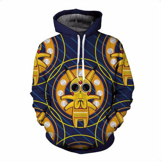 Acid Pikachu Stylish Pokemon Go Stripes Cool Streetwear 3D Hoodie - Konoha Stuff