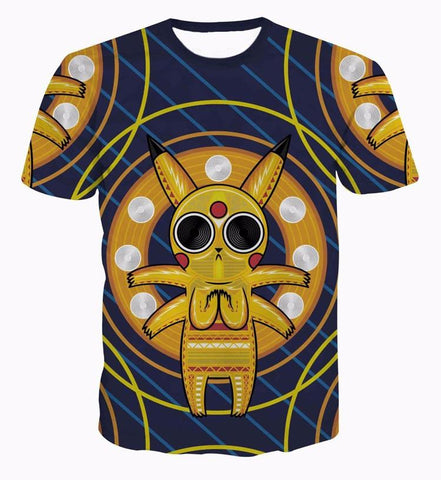 Acid Pikachu Stylish Pokemon Go Stripes Cool Streetwear 3D T-Shirt - Konoha Stuff