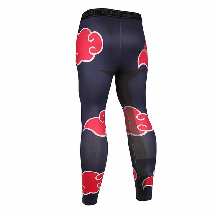 Anime Naruto Akatsuki Cloud Pattern Gym Fitness Skinny Leggings Pants - Konoha Stuff