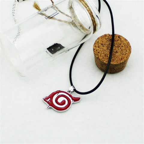 Naruto Anime Konoha Leaf Village Logo Red Leather Chain Cool Necklace - Konoha Stuff - 1