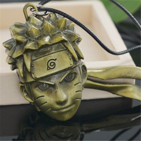 Anime Naruto Uzumaki Face Retro Bronze Metal Pendant Necklace - Konoha Stuff