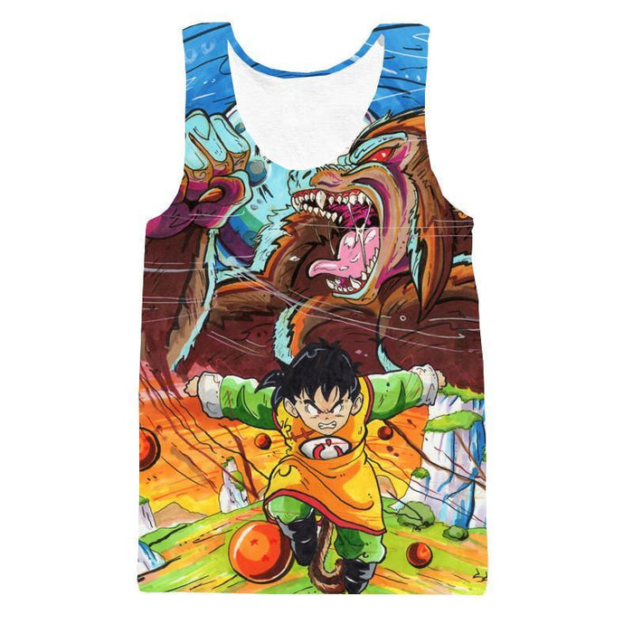 Art Style Gohan Great Ape Colorful DBZ Graffiti Painting Tank Top - Saiyan Stuff - 1