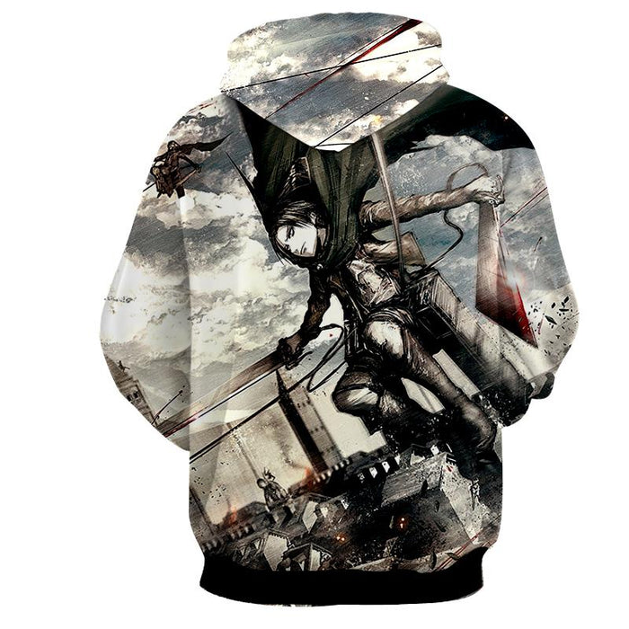 Attack On Titan Levi Dual Blades Jumping Sketch Style Hoodie - Konoha Stuff