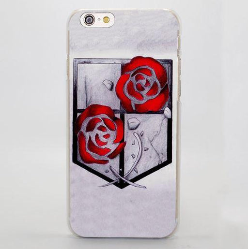Attack On Titan Red Rose Black White Garrison Symbols Style iPhone 4 5 6 7 Plus Case - Konoha Stuff