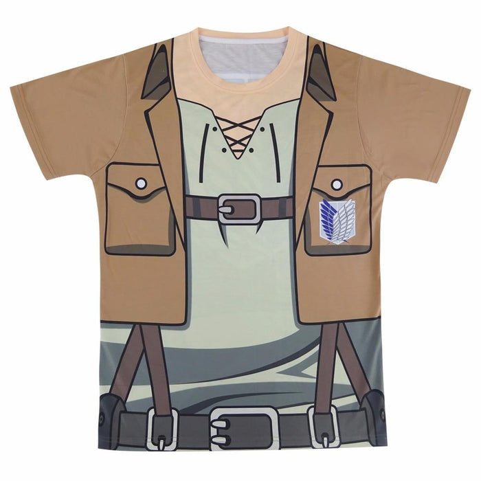 Attack On Titan Scouting Legion Khaki Cosplay Uniform 3D T-Shirt - Konoha Stuff