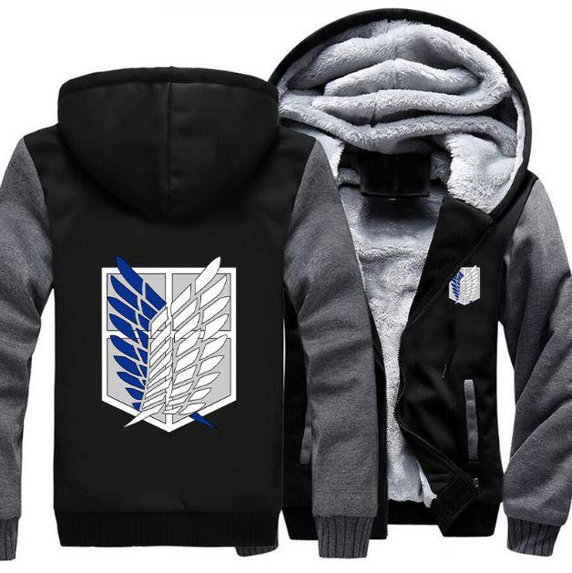 Attack On Titan Shingeki No Kyojin Survey Corps Logo Grey Black Hooded Jacket - Konoha Stuff