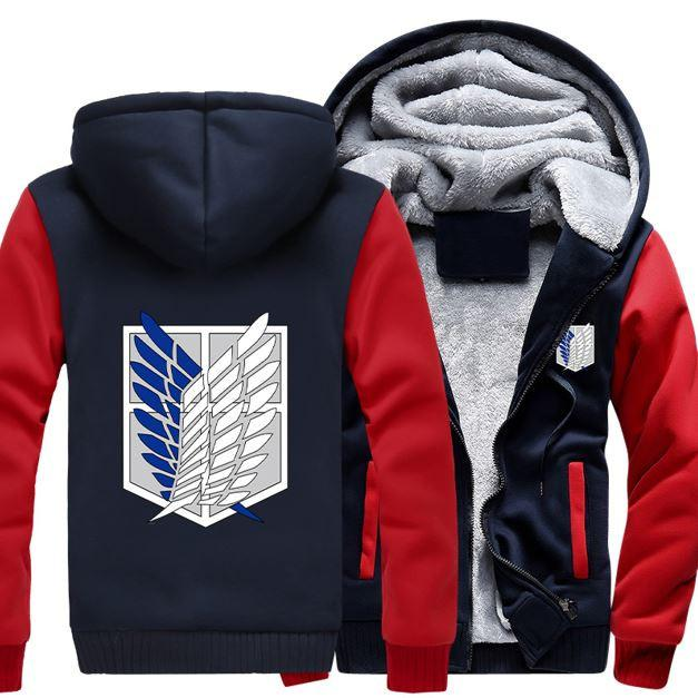 Attack On Titan Shingeki No Kyojin Survey Corps Logo Red Navy Hooded Jacket - Konoha Stuff