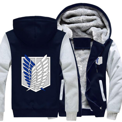 Attack On Titan Shingeki No Kyojin Survey Corps Logo White Navy Hooded Jacket - Konoha Stuff