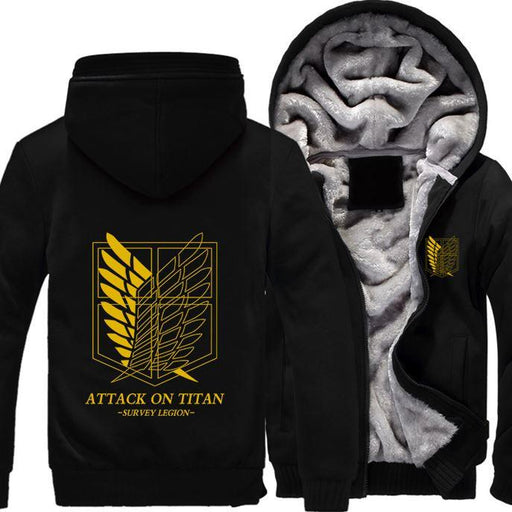 Attack On Titan Shingeki No Kyojin Yellow Recon Corps All Black Hooded Jacket - Konoha Stuff