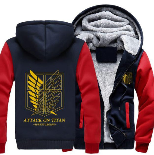 Attack On Titan Shingeki No Kyojin Yellow Recon Corps Red Navy Hooded Jacket - Konoha Stuff