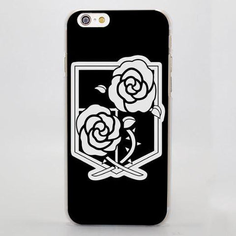 Attack On Titan Simple Black White Garrison Symbol Cool iPhone 4 5 6 7 Plus Case
