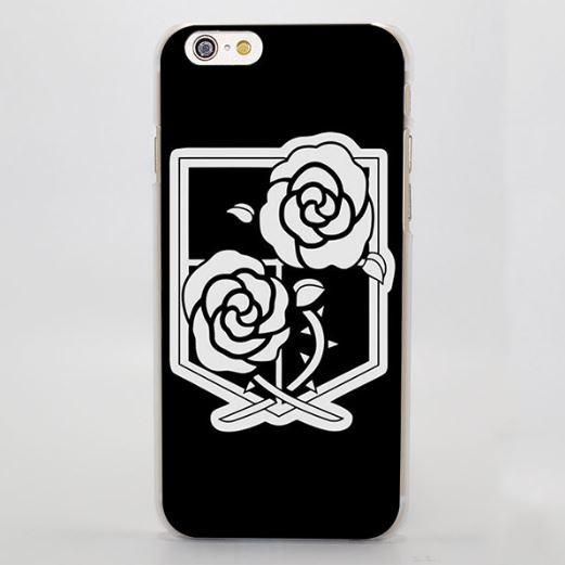 Attack On Titan Simple Black White Garrison Symbol Cool iPhone 4 5 6 7 Plus Case - Konoha Stuff