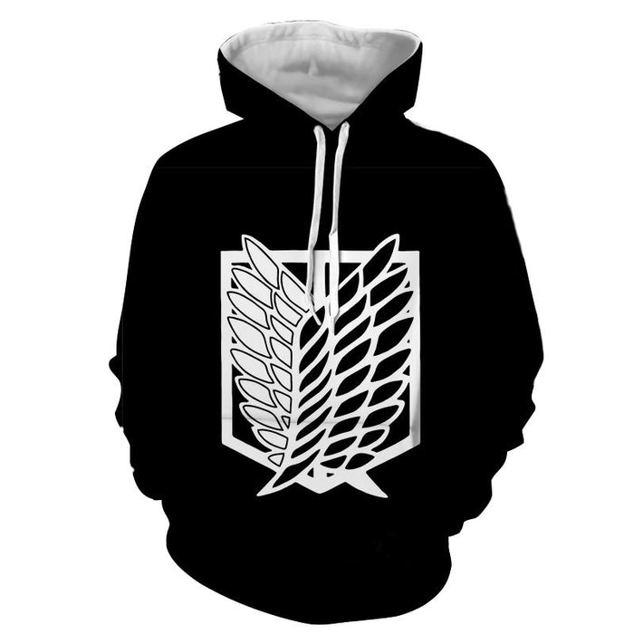 Attack On Titan Survey Corps Black And White Symbol Hoodie - Konoha Stuff