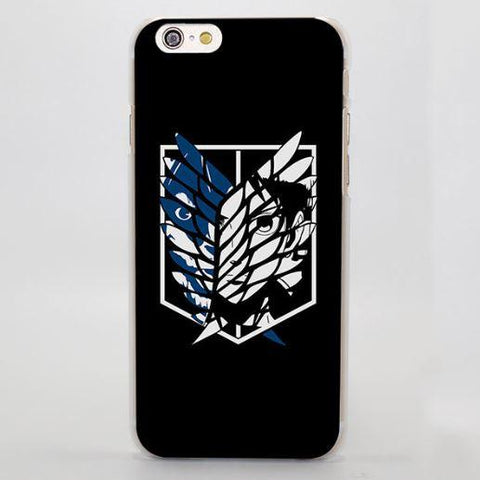 Attack On Titan The Wings Cool Faces Simple Black Art iPhone 4 5 6 7 Plus Case