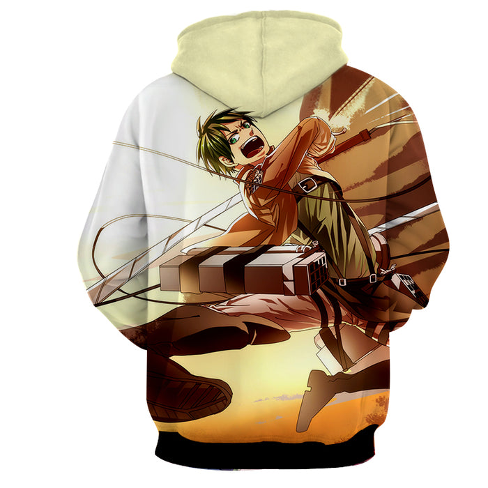 Attack on Titan Angry Eren Yeager Flying Kick Attack Hoodie