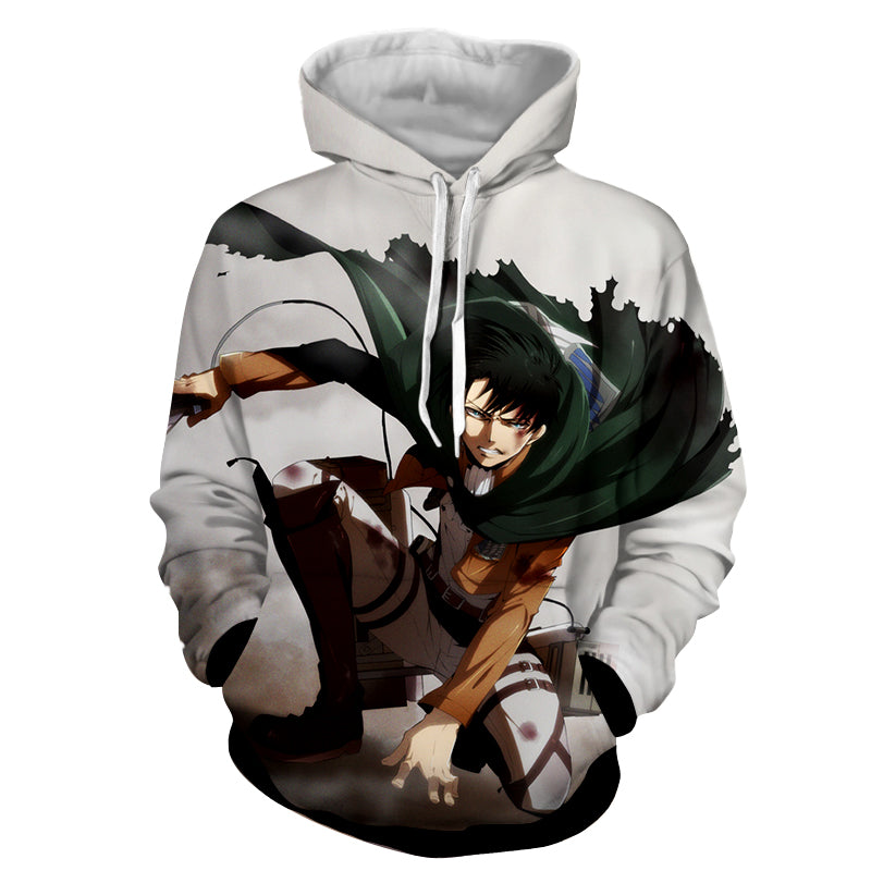 2fa662c8 Attack on Titan Angry Levi Ackerman Blood Stain White Hoodie