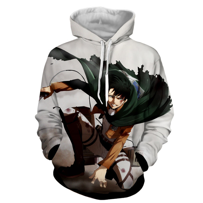 Attack on Titan Angry Levi Ackerman Blood Stain White Hoodie