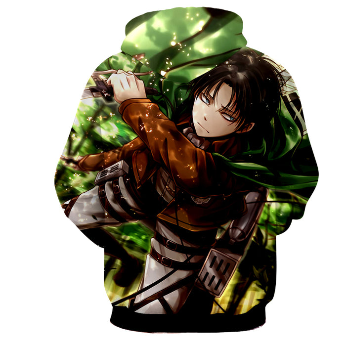 Attack on Titan Cool Levi Ackerman Annoyed Face Green Hoodie