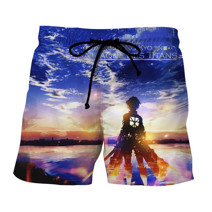 Attack on Titan Cool Pose Amazing Sunset Cadet Boardshort