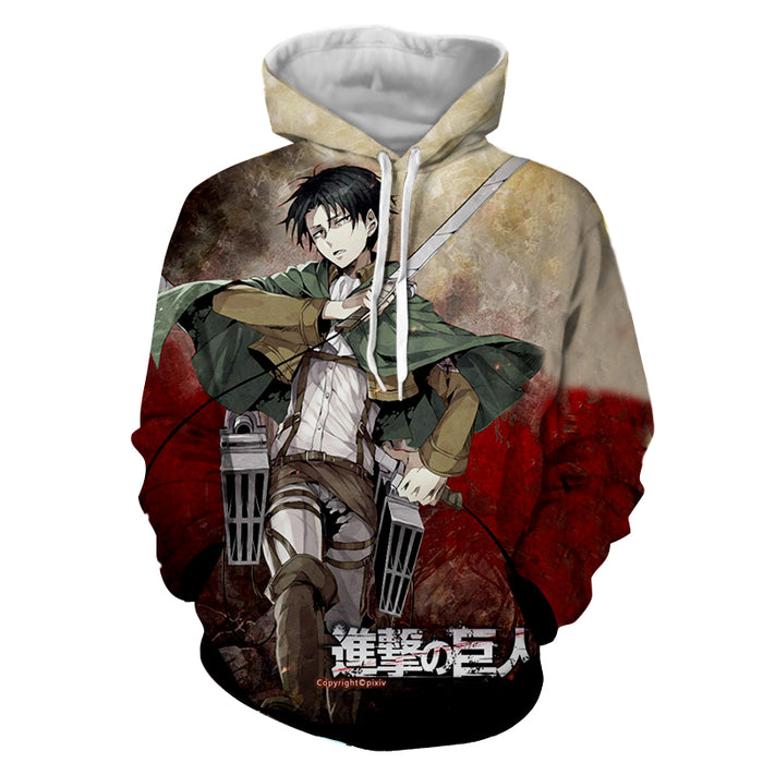Attack on Titan Dope Levi Ackerman Sword Battle Pose Hoodie