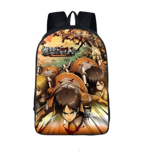 Attack on Titan Eren Armin Mikasa Fight School Bag Backpack - Konoha Stuff