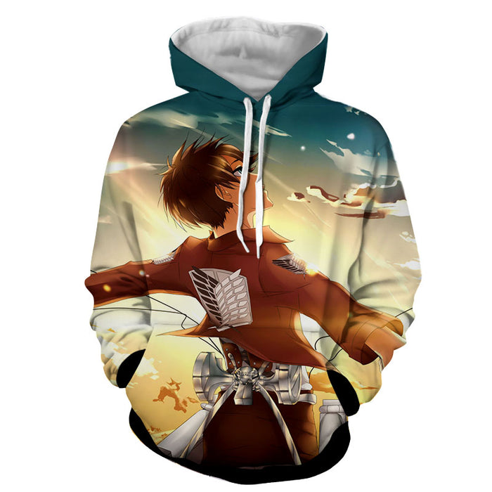 Attack on Titan Eren Yeager Cool Peaceful Happy Look Hoodie