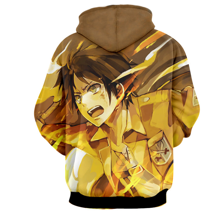 Attack on Titan Eren Yeager Epic Yellow Fire Flame Hoodie