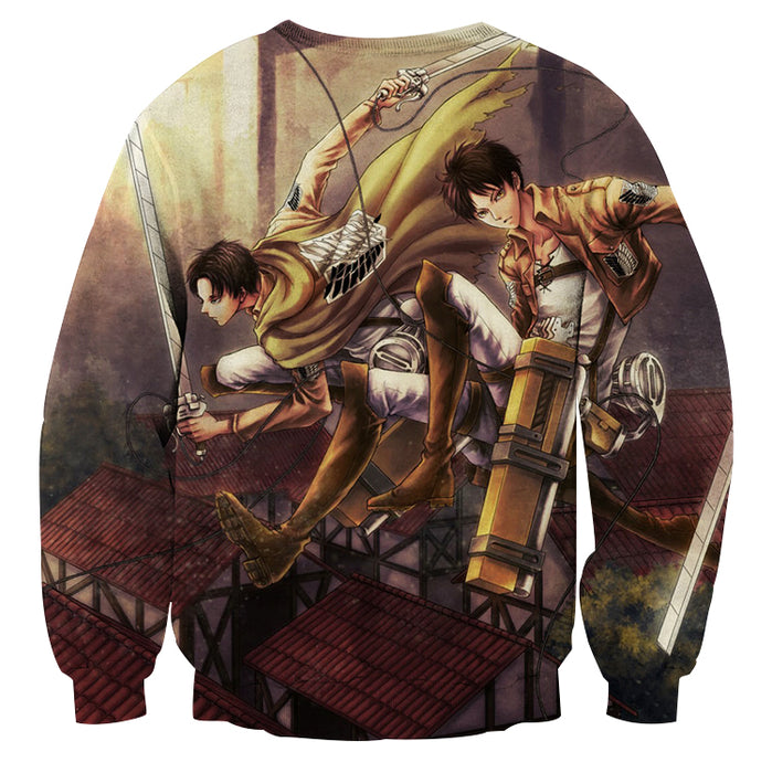 Attack on Titan Eren Yeager Levi Ackerman Survey Corps Sweatshirt