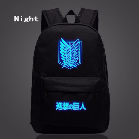 Attack on Titan Fantasy Anime Wings of Liberty Luminous Black Backpack - Konoha Stuff