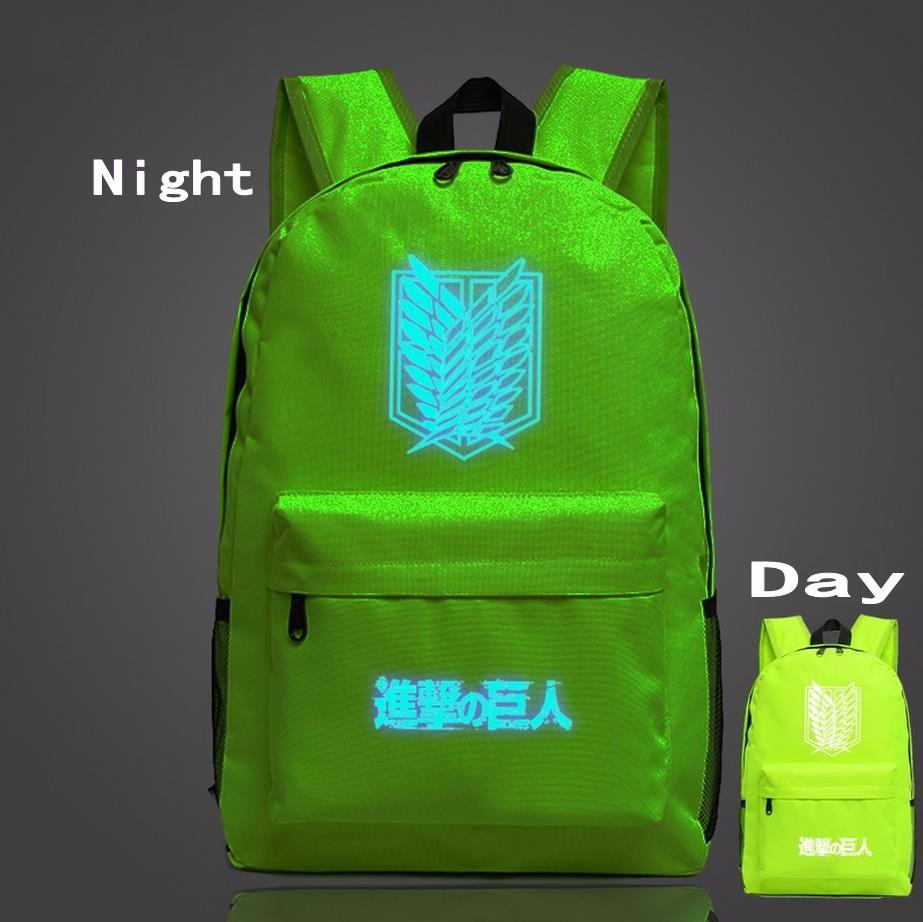 Attack on Titan Fantasy Anime Wings of Liberty Luminous Green Backpack - Konoha Stuff