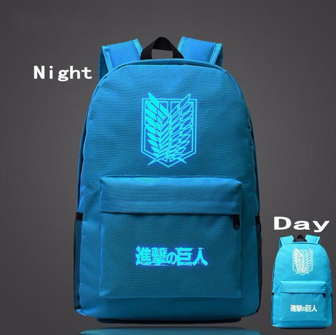 Attack on Titan Fantasy Anime Wings of Liberty Luminous Sky Blue Backpack - Konoha Stuff