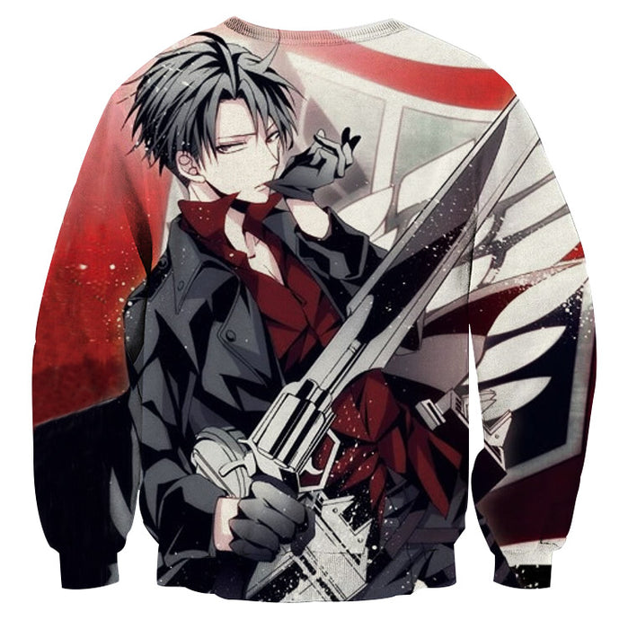 Attack on Titan Handsome Levi Black Coat Survey Corps Sweater