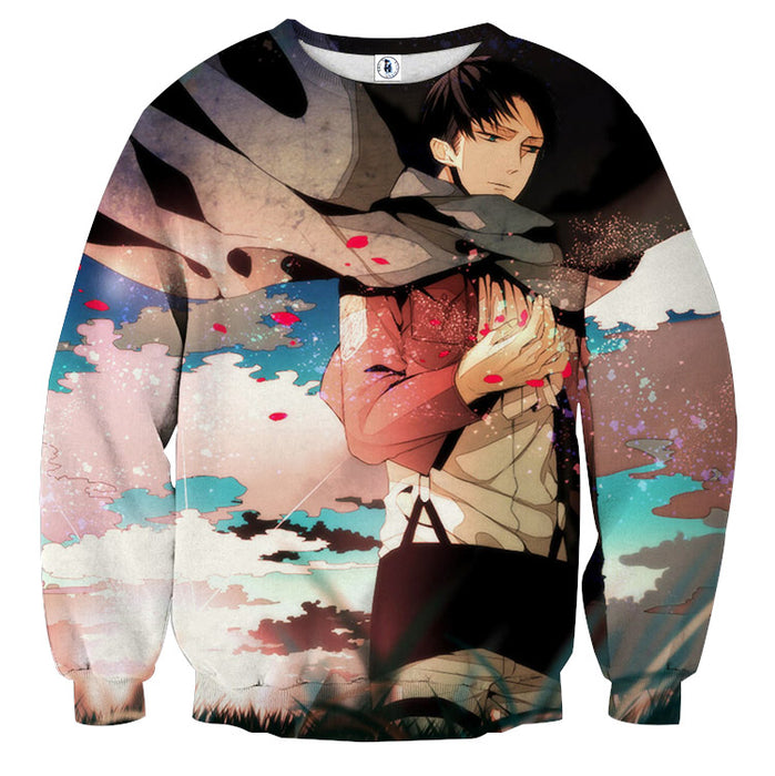 Attack on Titan Levi Ackerman Cool Red Rose Blue Sky Sweater