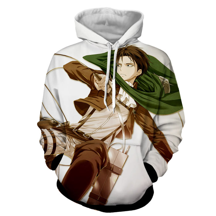 Attack on Titan Levi Ackerman Scout Regiment White Hoodie