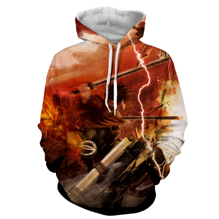 Attack on Titan Levi Eren Intense Titan Battle Flame Hoodie