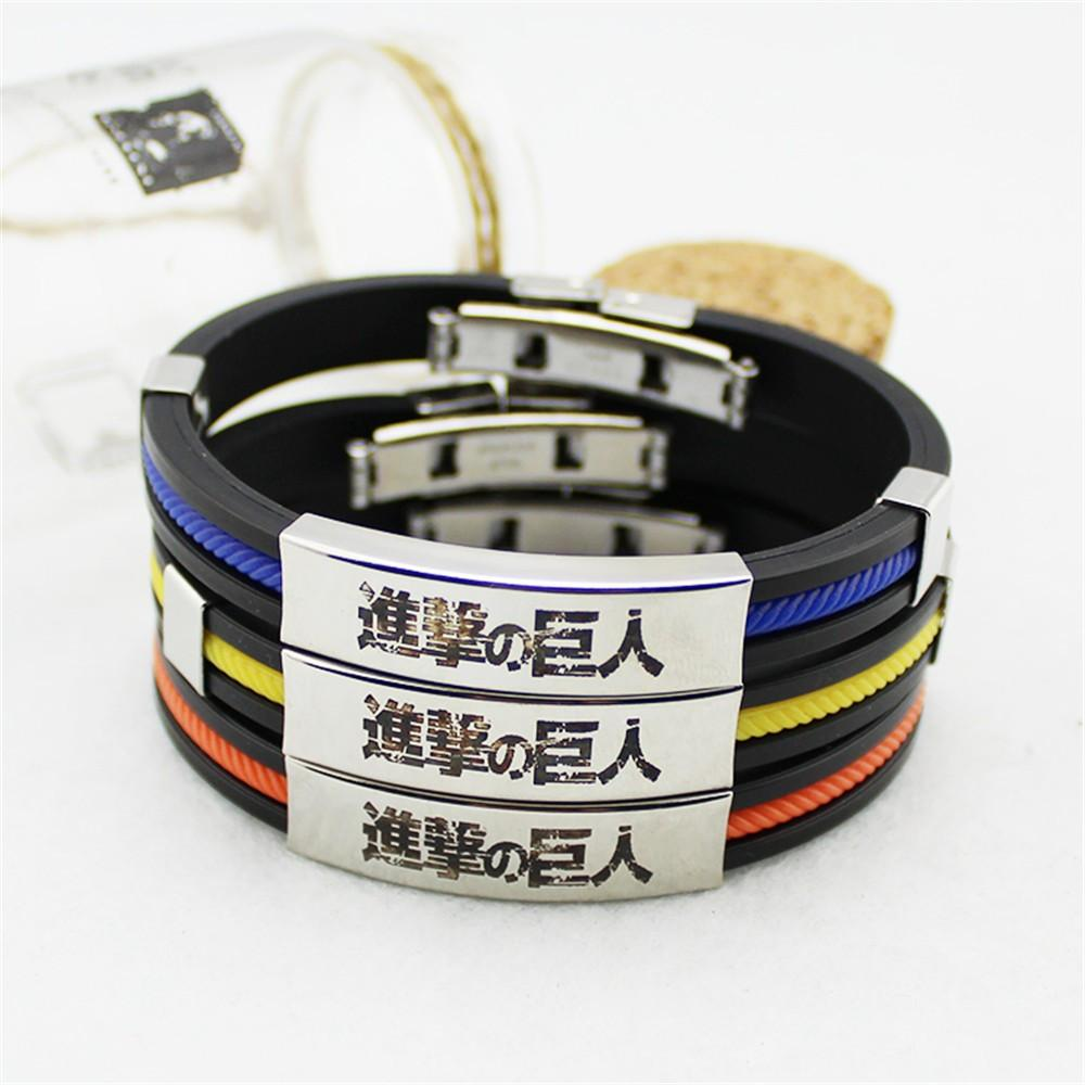 Attack on Titan Manga Kanji Title Awesome Design Steel Bracelet Wristband - Konoha Stuff - 1