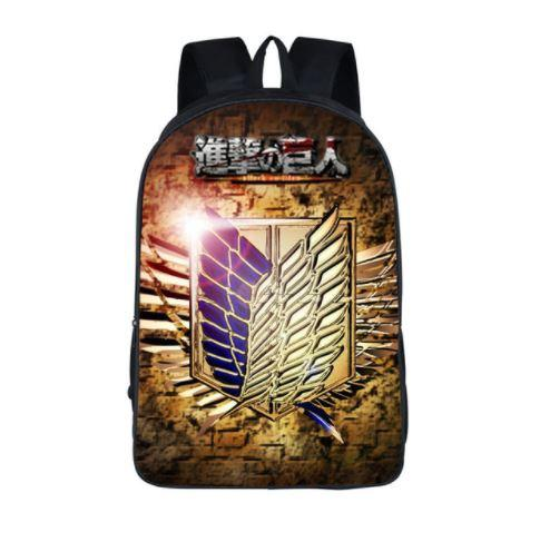 Attack on Titan Scout Corps Wings Symbol School Bag Backpack - Konoha Stuff
