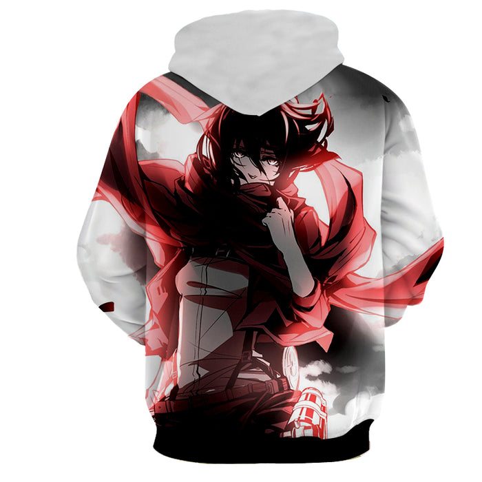 Attack on Titan Sexy Mikasa Ackerman Red Scarf White Hoodie