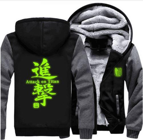 Attack on Titan Survey Legion Green Luminous Coat Zipper Hooded Jacket - Konoha Stuff