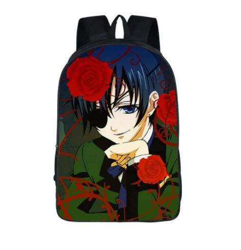 Black Butler Ciel Phatomhive Roses Cute School Bag Backpack - Konoha Stuff