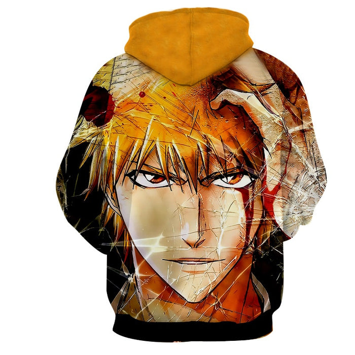 Bleach Anime Dope Ichigo Kurosaki Broken Glass Orange Hoodie