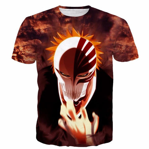 Bleach Anime Ichigo Kurosaki Hollow Mask Cool Painting 3D T-shirt - Konoha Stuff - 1